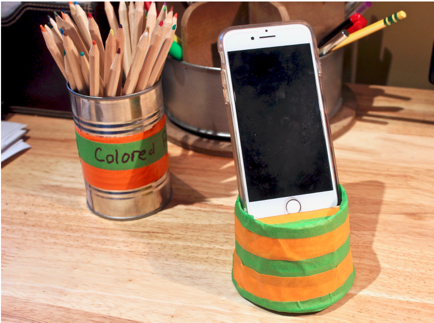 mobile phone stand made of colorful masking tape on desk