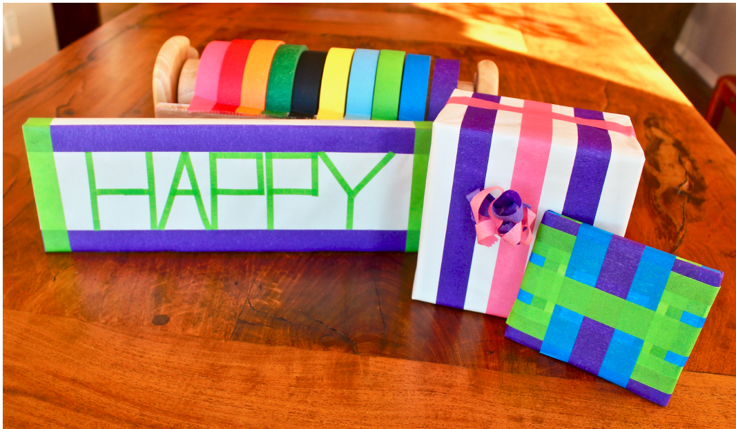 gift packages decorated with colorful masking tape